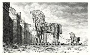 dessin cheval de troie devant les murs de la cité