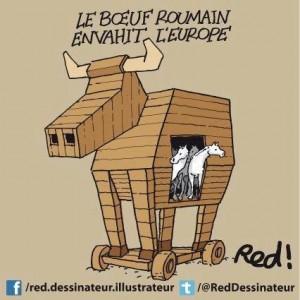 caricature boef - cheval de Troie allusion spanghero