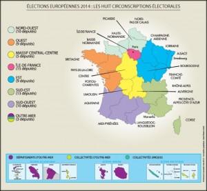les circonscriptions électorales  du scrutin européen 2014